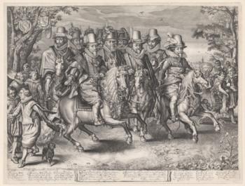 Willem Jacobz Delff naar Adriaen van de Venne, Ruiterstoet van de zes prinsen van het Huis Oranje-Nassau, 1621, gravure, 432 x 570 mm, Rijksmuseum, Amsterdam